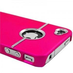 Hot Pink and Chrome Rubberized Hard Cover for iPhone 4