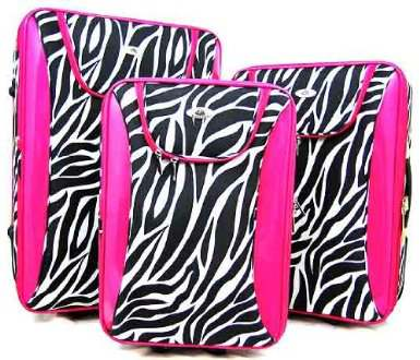 3 Piece Zebra Print Suitcase Set Luggage Hot Pink Trim | PINK ...